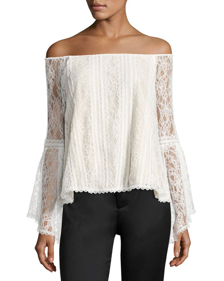 Alice + Olivia Shera Off-the-Shoulder Trumpet-Sleeve Lace Blouse