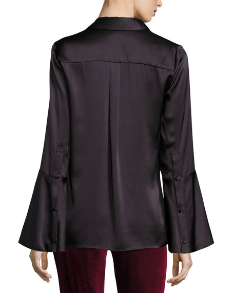 Myrtle Trumpet-Sleeve Button-Front Satin Blouse