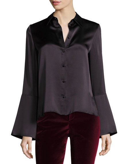 Alice + Olivia Myrtle Trumpet-Sleeve Button-Front Satin Blouse