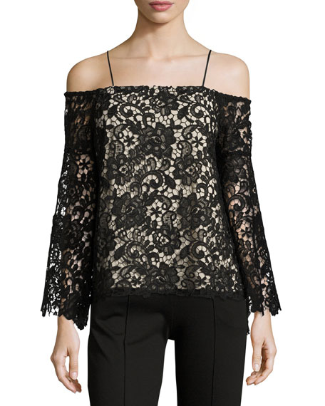 Alice + Olivia Prena Trumpet-Sleeve Off-the-Shoulder Lace Top