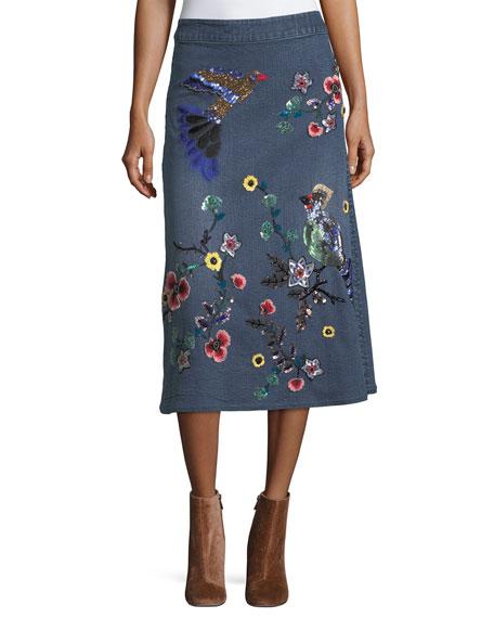 Libbie Embellished A-Line Denim Midi Skirt