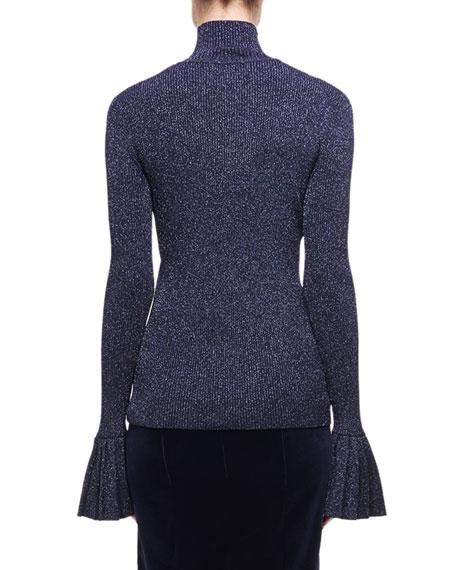 Metallic Wool-Blend Sweater, Navy