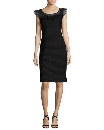 Pintucked Jersey Dress w/ Horsehair Trim