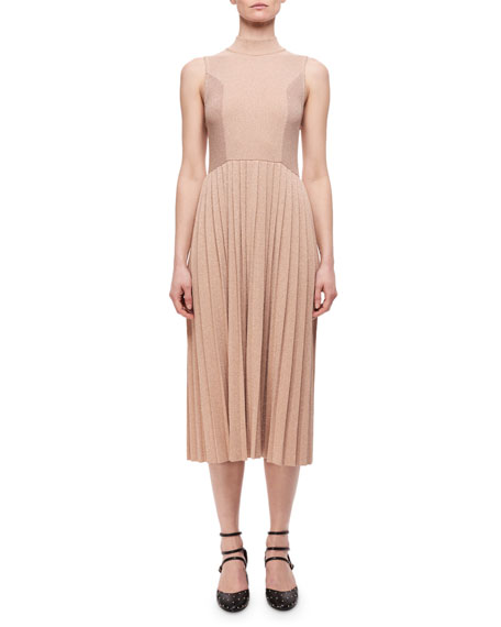 Carven Pleated Metallic Wool-Blend Sleeveless Dress, Blush