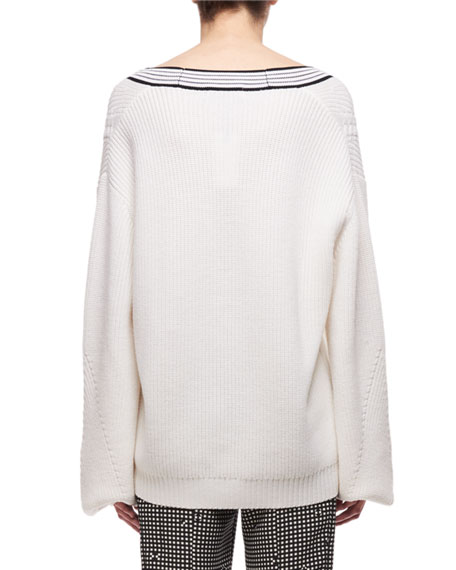 V-Neck Merino Wool Cable-Knit Sweater