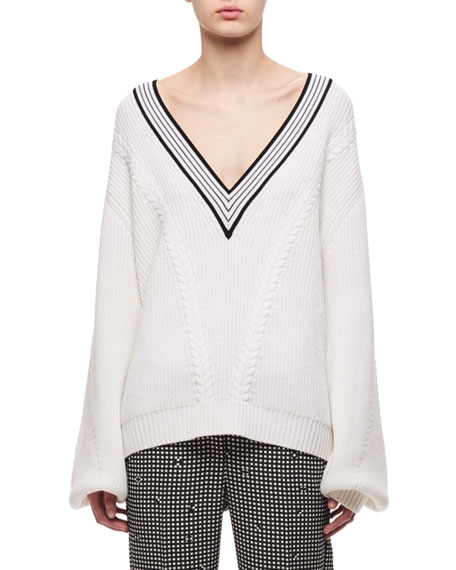 Carven V-Neck Merino Wool Cable-Knit Sweater, White and