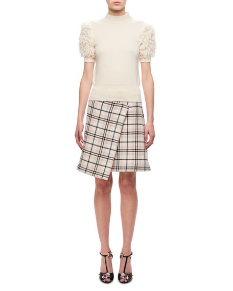 Carven Short-Sleeve Fringed Knitted Sweater