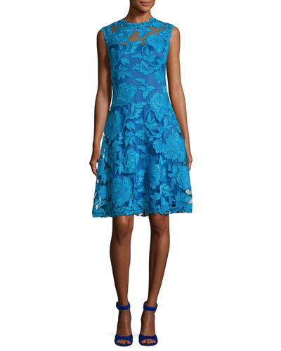 Embroidered Floral-Lace Fit-&-Flare Dress, Blue Topaz