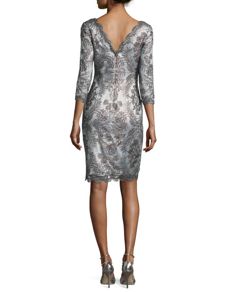 3/4-Sleeve Floral-Embroidered Tulle Dress