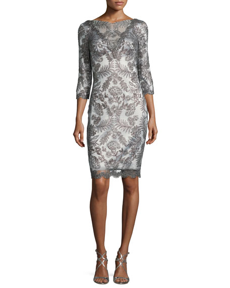 Tadashi Shoji 3/4-Sleeve Floral-Embroidered Tulle Dress