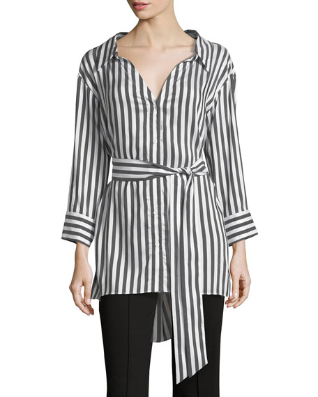 Tate Wide-Neck Button-Down Striped Shirt