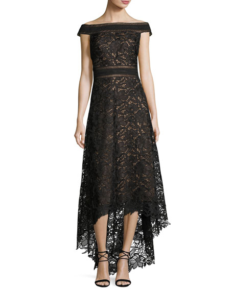 Off-the-Shoulder Lace High-Low Gown