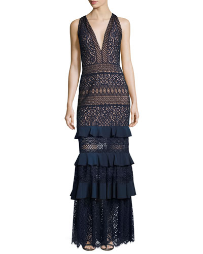 V-Neck Embroidered Lace Column Gown w/ Ruffled Skirt