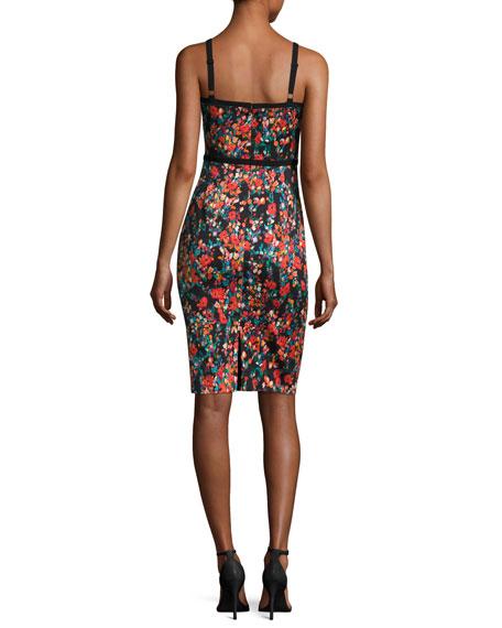 Daria Floral-Print Sateen Sheath Dress, Masterpiece
