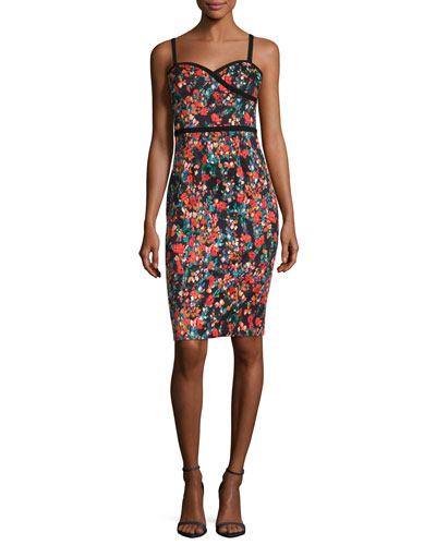 Daria Floral-Print Sateen Sheath Dress, Masterpiece