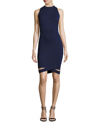 Kaia Sleeveless Knit Dress w/ Cutout Hem, Inked