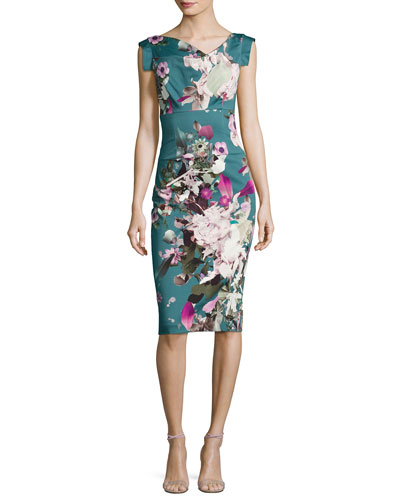 Jackie Floral-Print Sateen Sheath Dress, Water Bloom