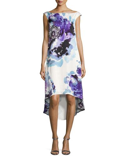 Kindered Cap-Sleeve Peony-Print Hi-Low Dress
