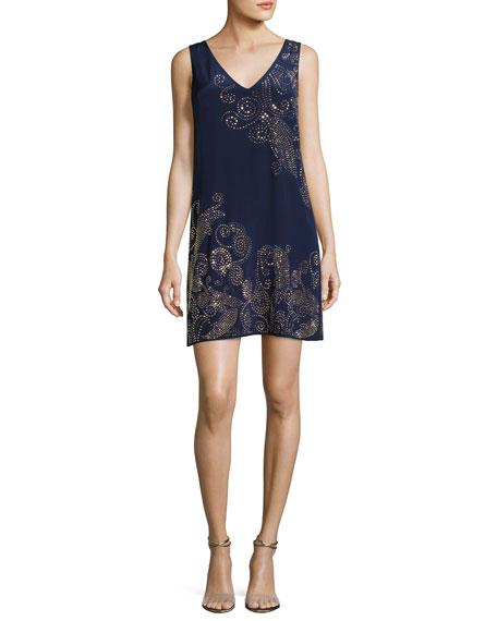 Glitterati Embellished Paisley Silk Shift Dress