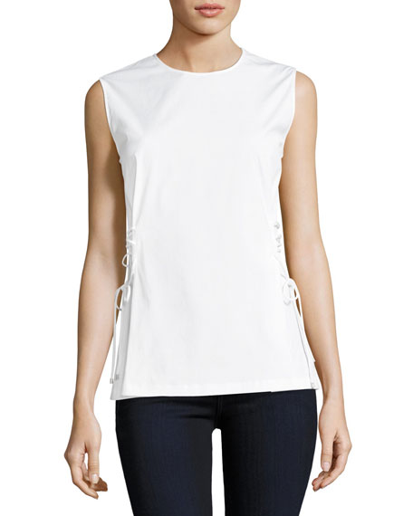 Theory Laced-Side Crewneck Stretch-Cotton Shell Top