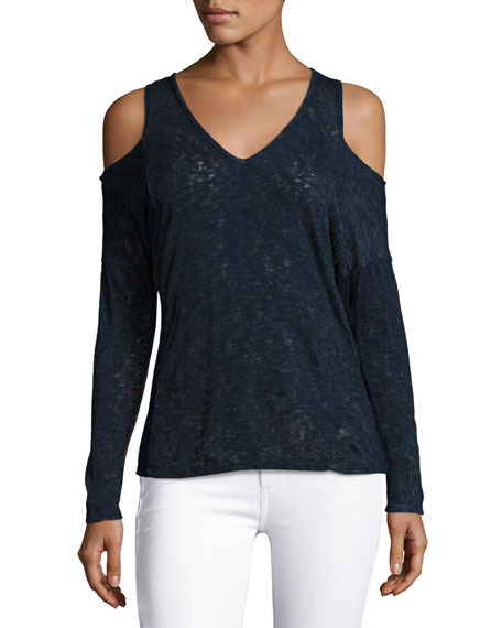 Cold-Shoulder Textured Knit Sweater, Navy