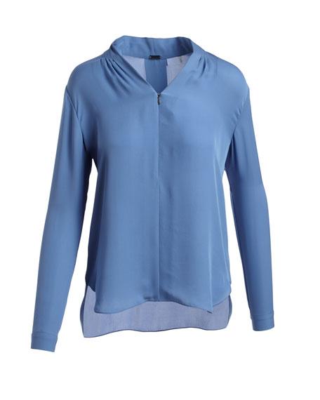 Hester Long-Sleeve V-Neck Silk Blouse