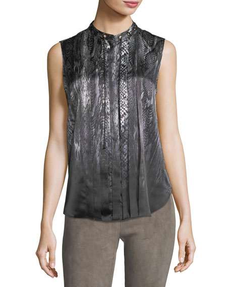 Elie Tahari Terri Sleeveless Pleated Snakeskin-Print Silk Blouse
