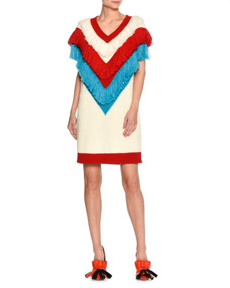 MSGM V-Neck Sleeveless Fringe Sweater Dress, White Pattern