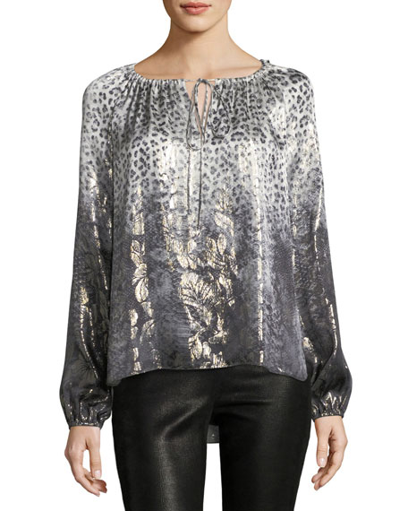 Elie Tahari Mariella Long-Sleeve Metallic Silk-Blend Blouse