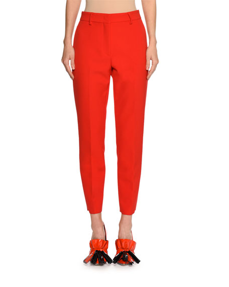 MSGM Slim High-Rise Tailored Trousers, Red and Matching