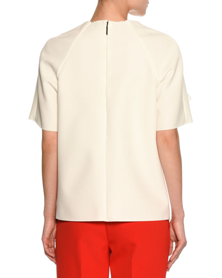 Ruffled Shoulder Short-Sleeve Tee, White