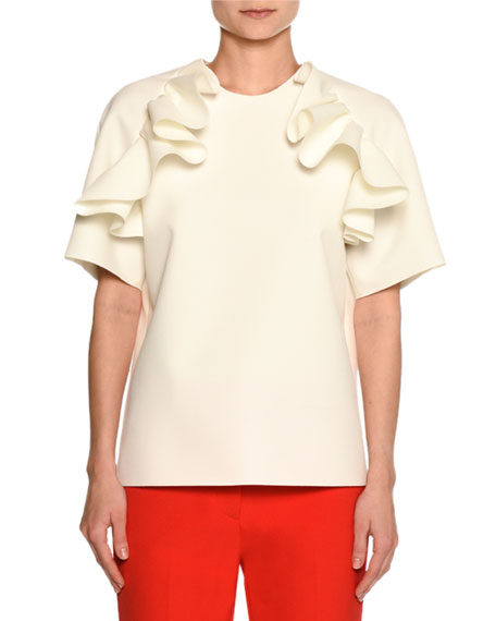 Ruffled Shoulder Short-Sleeve Tee, White