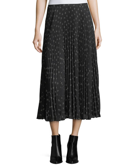 Ditsy-Floral Pleated Maxi Skirt