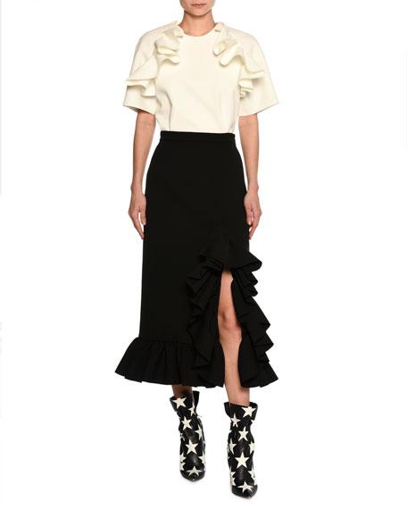 Ruffled Hem High-Rise Midi Skirt, Black