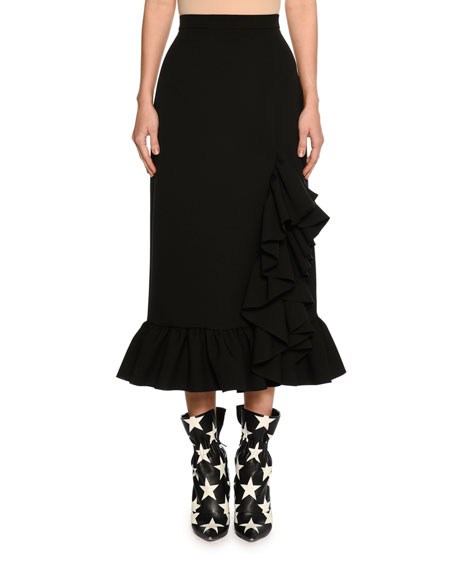 MSGM Ruffled Hem High-Rise Midi Skirt, Black
