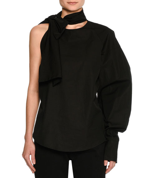 MSGM Tie-Neck One-Arm Poplin Top, Black