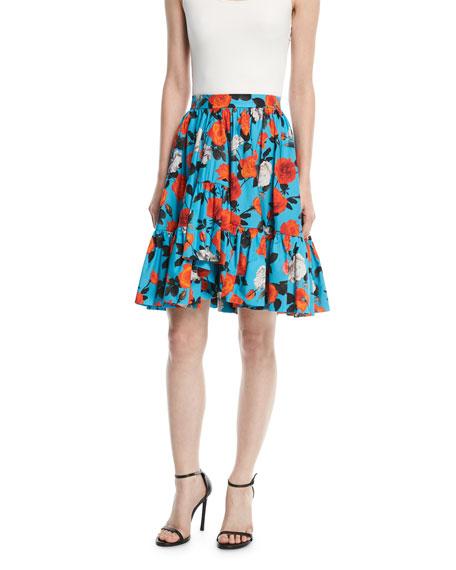 MSGM Floral-Print Ruffled Poplin Skirt