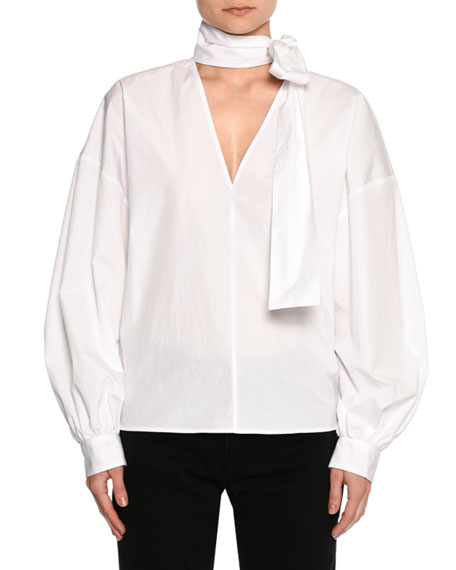 MSGM Poplin Long-Sleeve Tie-Neck Blouse, White and Matching