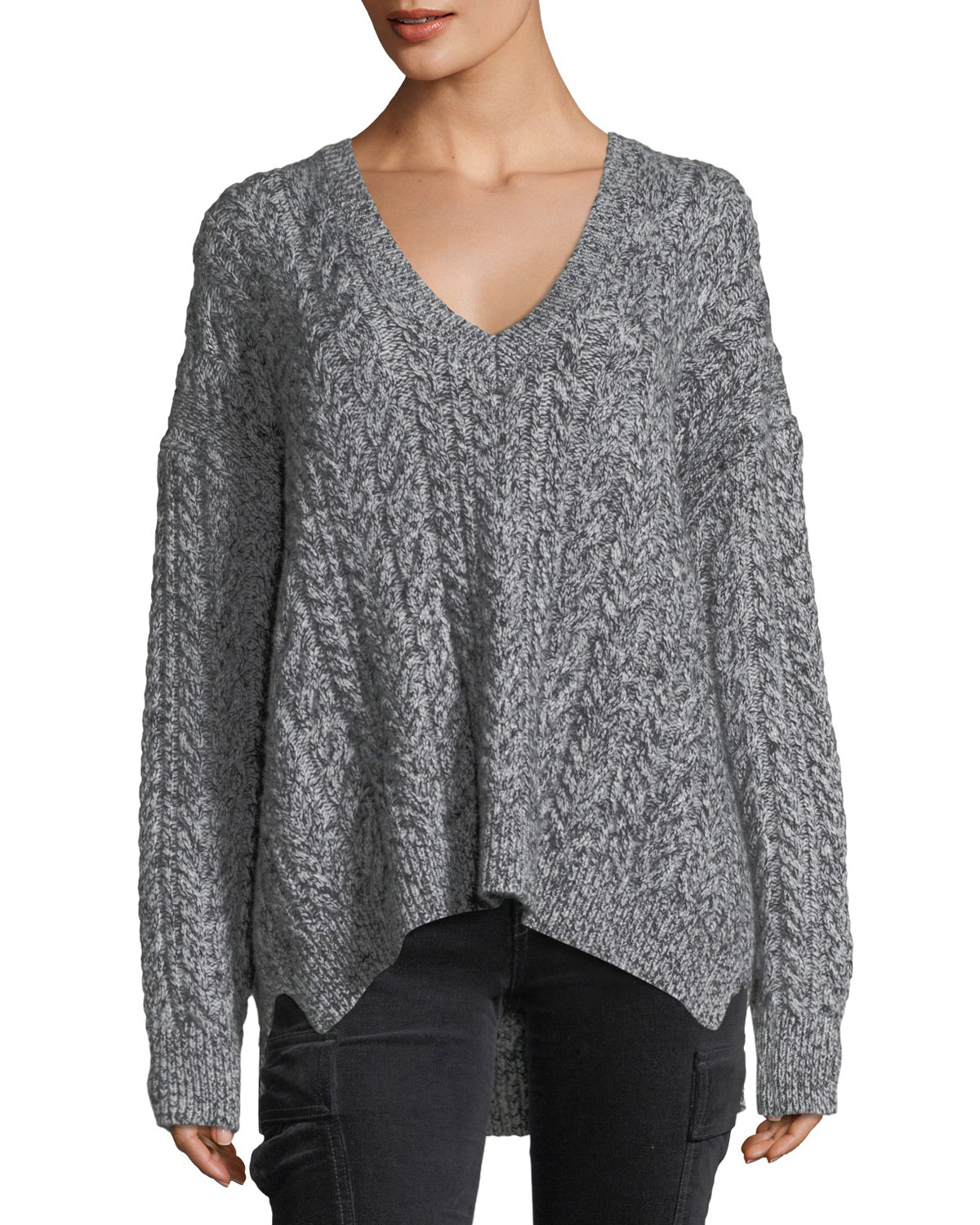 Vince Oversized Cable Knit V Neck Sweater Neiman Marcus
