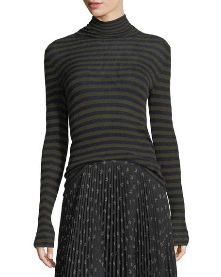Striped Skinny-Rib Turtleneck Cashmere Sweater