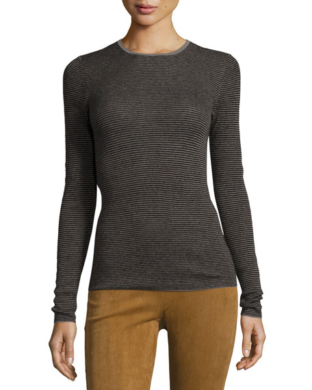 Striped Skinny Rib Cashmere Sweater, Gray Multi