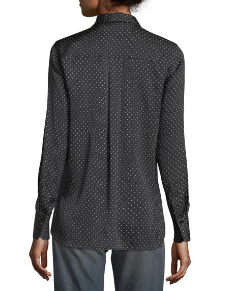Polka-Dot Button-Front Silk Shirt