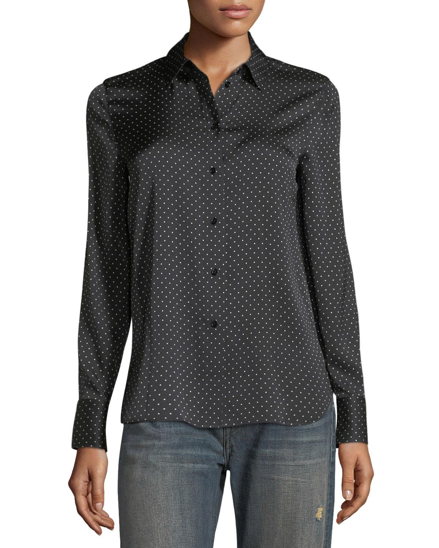 5470eb4751bd9 Vince Polka-Dot Button-Front Silk Shirt