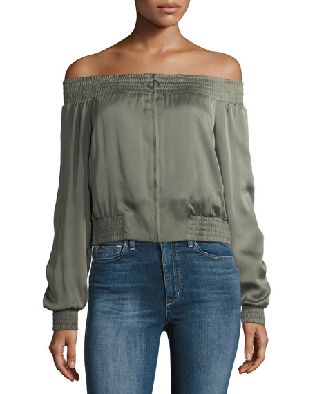 BCBGMAXAZRIA Marco Off-the-Shoulder Zip-Front Satin Top