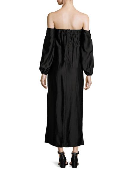 Malta Off-the-Shoulder Long-Sleeve Maxi Dress w/ Side Slit