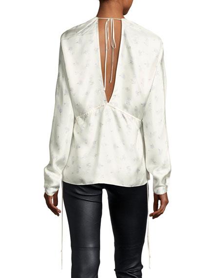 Ophelie V-Neck Floral-Printed Satin Top w/ Side Ties