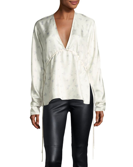 Elizabeth and James Ophelie V-Neck Floral-Printed Satin Top