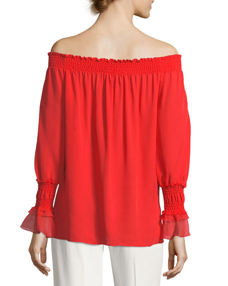 Genina Long-Sleeve Off-the-Shoulder Silk Blouse