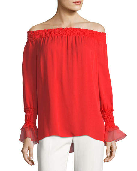 Kobi Halperin Genina Long-Sleeve Off-the-Shoulder Silk Blouse
