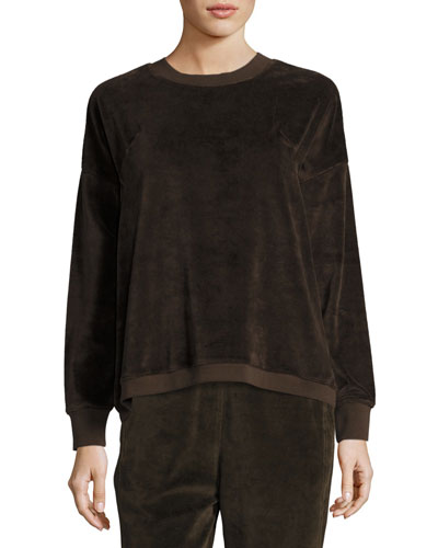 Velour Long-Sleeve Pullover Top